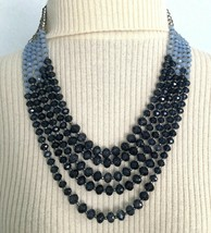 Gorgeous Gray and Blue Glass 5 Strand Torsade Necklace - $75.00