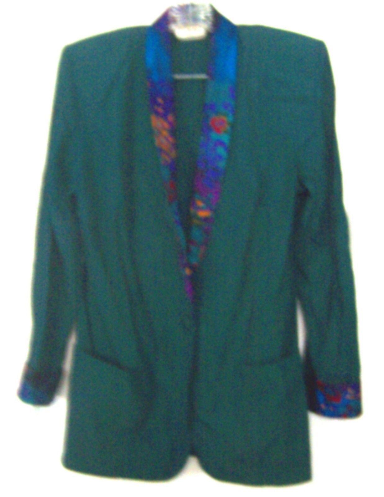 Synari Hunter Green Business Suit Dress Jacket w/Floral Lapels  Sz Large - $18.99