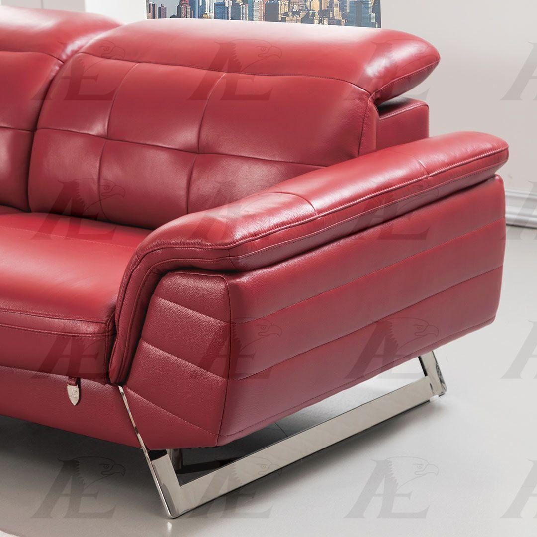 American eagle ek l085 red sectional sofa chaise lhc for Italian leather sectional sofa chaise