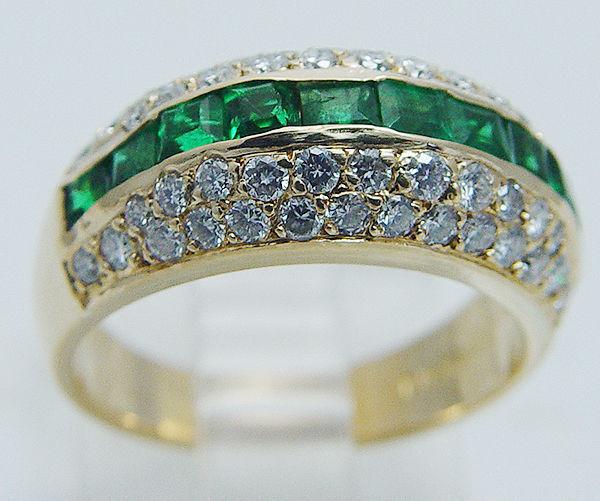 vintage jose hess birks 18k yellow gold emerald diamonds