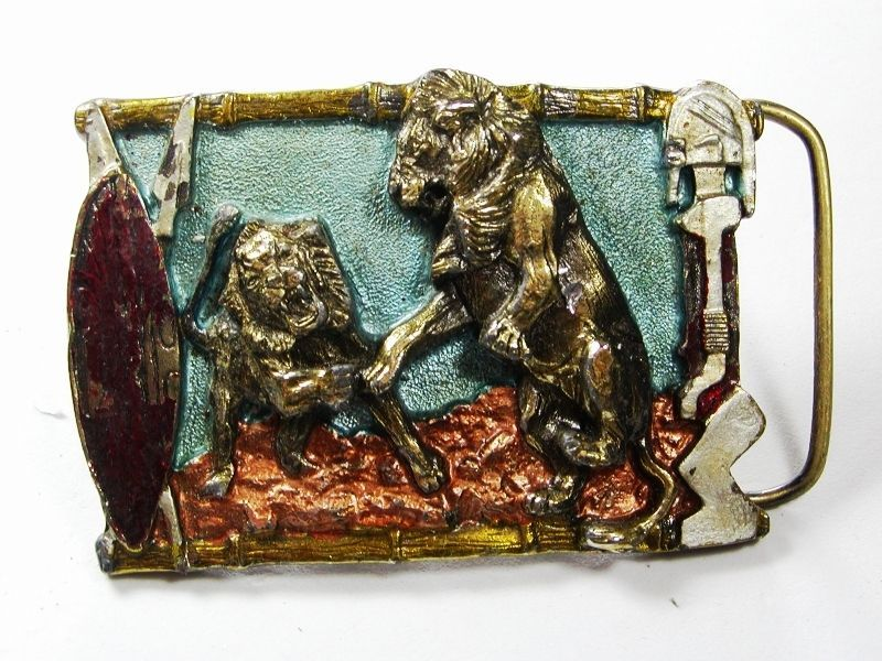 1988 Lions Belt Buckle By Great American Buckle Co Made In USA 102615