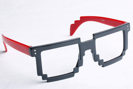 Retro 8 Bit Pixel Geek Gamer Style Pixelated Glass Frame No Lens Costume Cosplay image 6