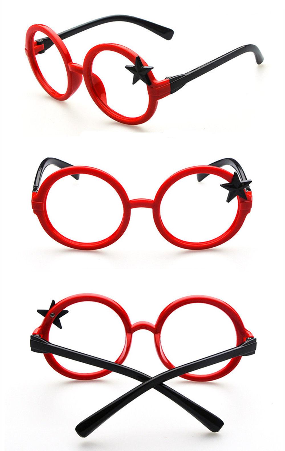 Nerd Classic Retro Round Wizard Style Glass Frame Fun Stars Eyewear for Kids
