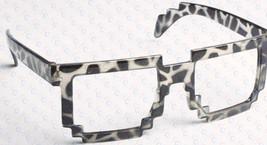 Retro 8 Bit Pixel Geek Gamer Style Pixelated Glass Frame No Lens Costume Cosplay image 4