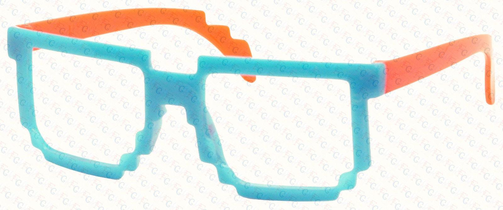 Retro Classic 8-Bit Pixel Geek Gamer Pixelated Glass Frame for Kids 3-12 NO LENS