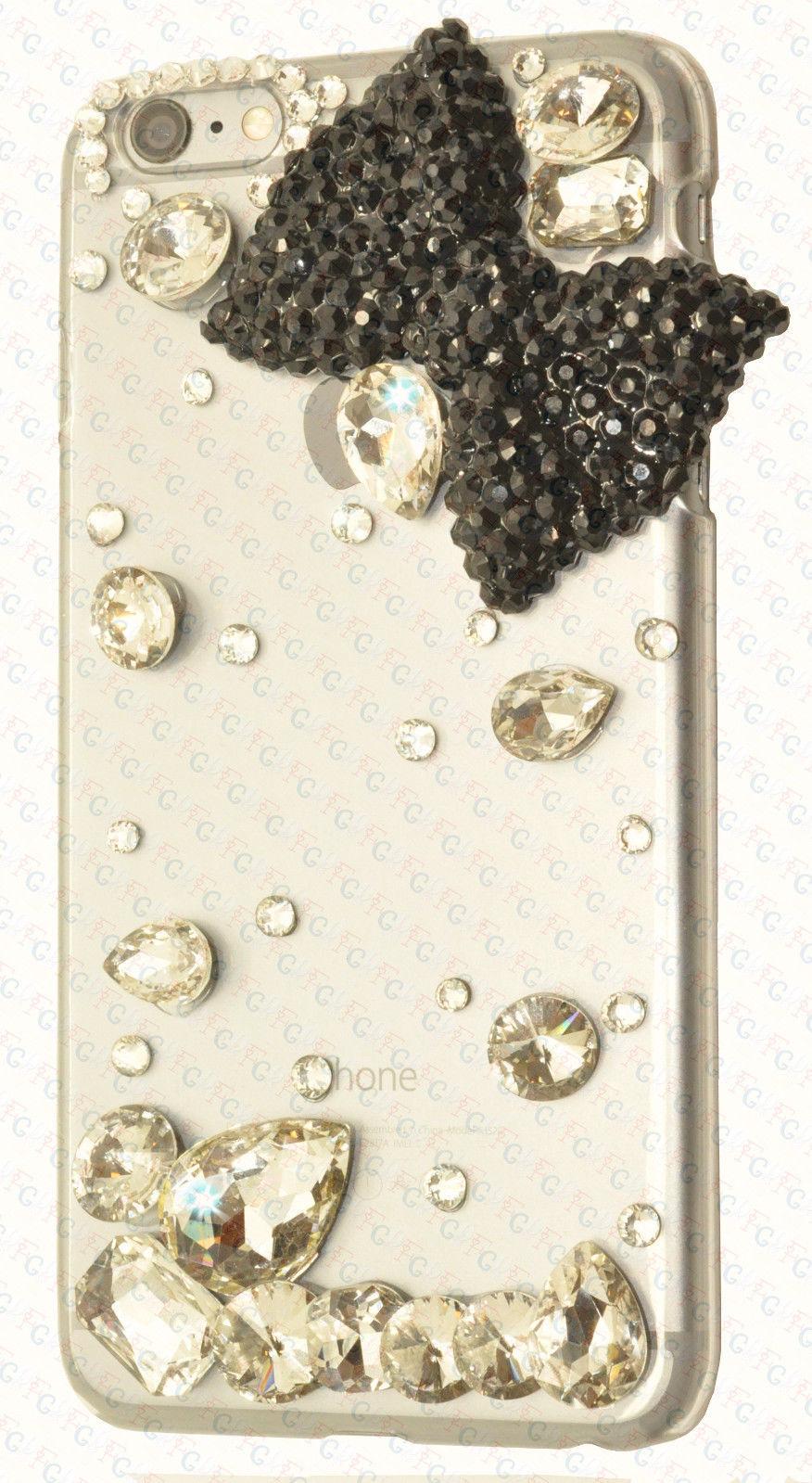 For iPhone 6 /Plus Luxury Diamond Crystal Bowtie Clear Case Black Rhinestone 4.7