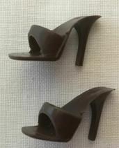 Vintage Barbie Brown Open Toe Heels Shoes  264-36 - $18.00