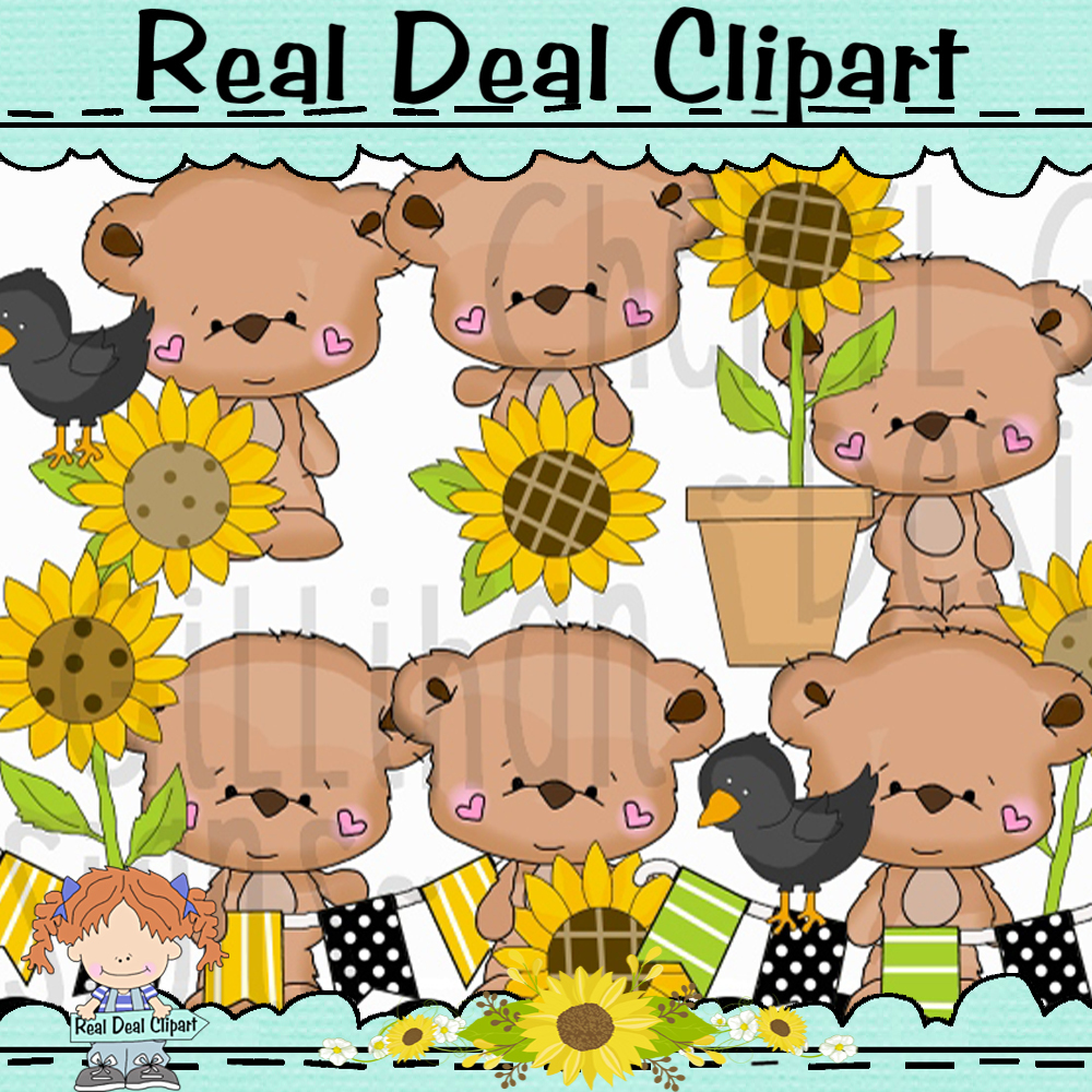 Tiny Teddy Sunflowers Clipart