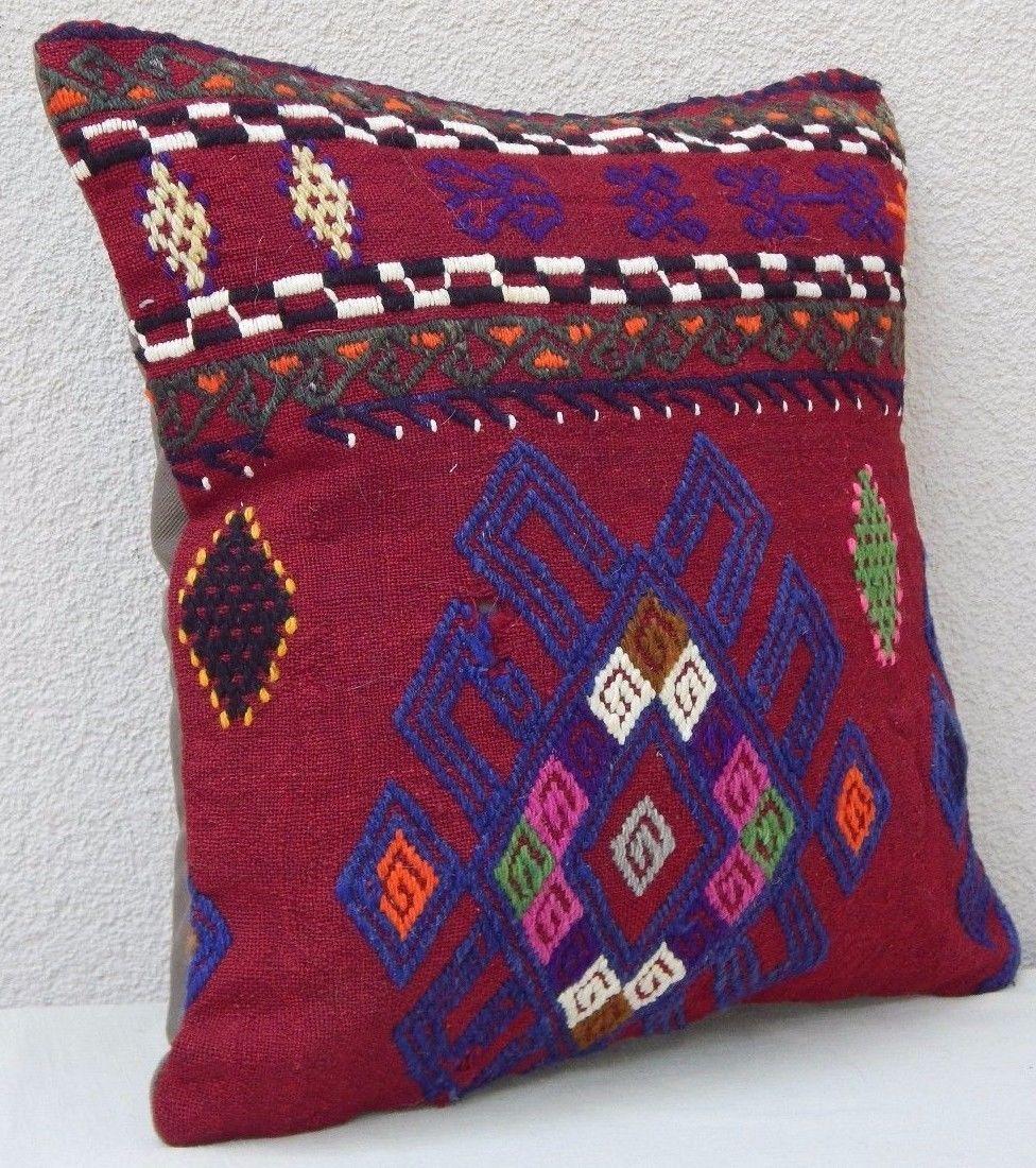16 X 16 Decorative Throw Pillow Covers, Vintage Burgundy Blue Kilim Cushion - Decorative Bed ...