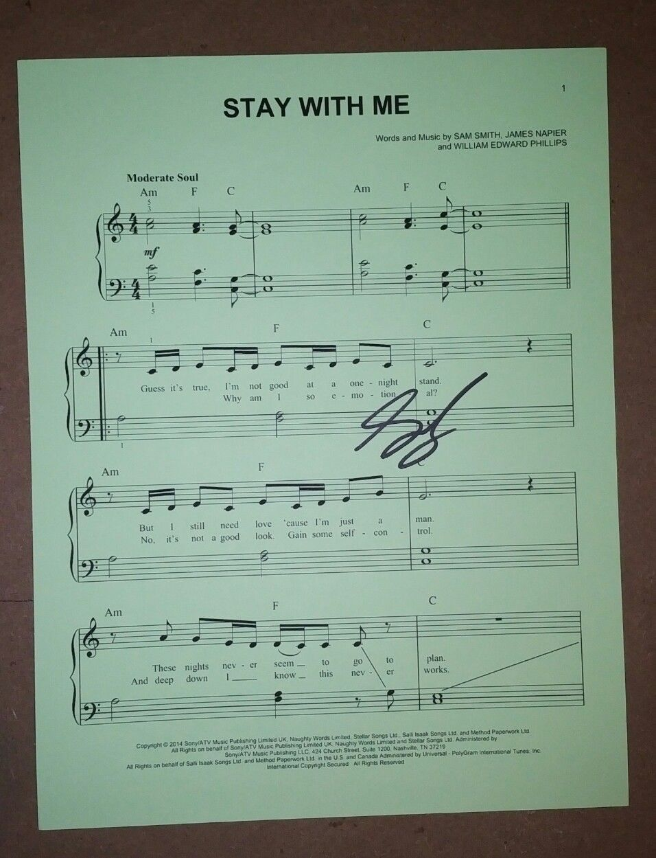 Sam Smith Hand Signed Sheet Music COA Stay With Me Autograph