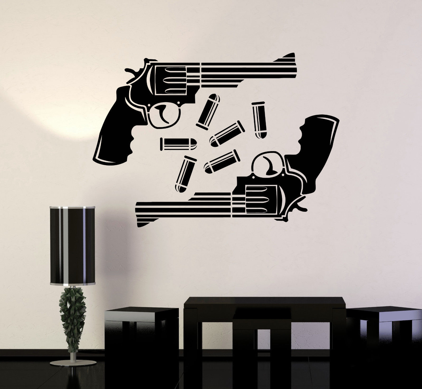 vinyl wall decal guns shop bullets shooting range stickers mural ig4143 decals stickers. Black Bedroom Furniture Sets. Home Design Ideas