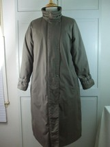 Down Feather Puffer Inside Womens Long Coat Gray Sage Sz 11/12 T. A. Cha... - $29.65