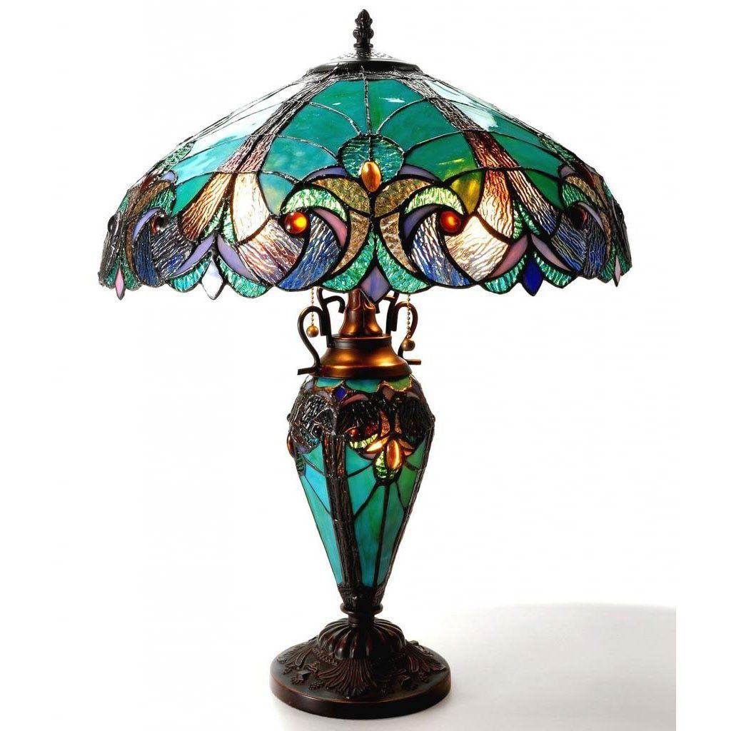 Table Lamp Tiffany Style Stained Glass Art Shade Pull Chain Lighting Turquoise