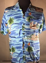 Pineapple Connection Hawaiian Shirt Cool Blue Water Surfer Waves Size XL - $10.90