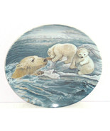 Polar Bears Baby Collector Plate Tender Coaxing Wildlife Hicks Knowles Vintage - $59.95