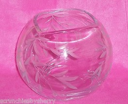 Lenox Opal Innocence Rose Bowl Handcut Crystal Frosted Leaves Large  - $99.95