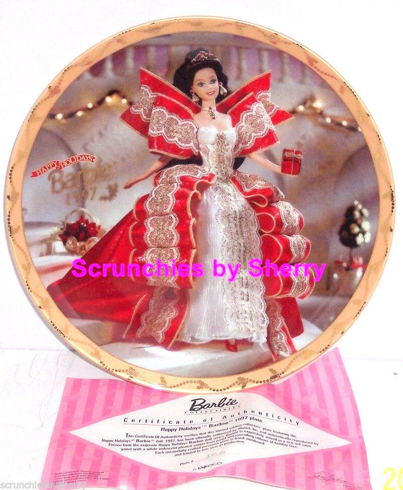 Barbie Happy Holidays Collector Plate Enesco 1997 Retired Vintage  - $16.95