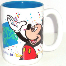 Walt Disney World Mickey Mouse Coffee Tea Mug Cup Ceramic White Blue - $49.95