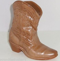 "Frankoma Cowboy Boot 7""  Planter Wall Pocket Brown Gold Vintage 133 USA ... - $49.95"