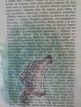 Dog painted on old book page in watercolour - O... - $19.90