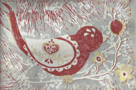 Linocut - Bird with national ornaments (grey, r... - $19.90