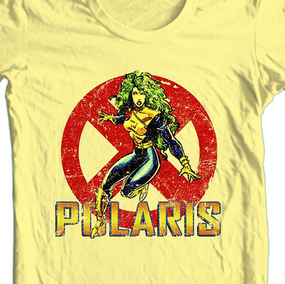 X men polaris retro marvel comics yellow t shirt
