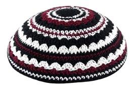 Knitted White Black Burgundy Crochet Kippah Yarmulke Yamaka Judaica Israel 20 cm