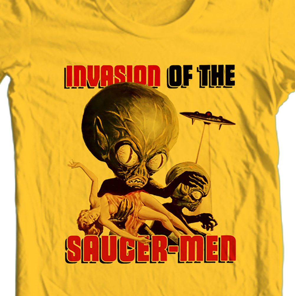 Invasion of the Saucer Men t-shirt retro vintage 50's sci fi movie free shipping