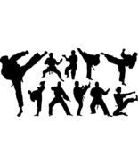 Martial arts assorted black vinyl stickers judo karate MMA - $6.28