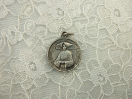 Vintage Catholic Medal St. Catherine Laboure & Virgin Mary 19mm silver finish - $21.51