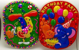 4 rigid plastic birthday wall decorations for children 2 of each style … - $9.89