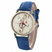 Fashion Vintage Leather Belt Watches Women Luxury Music Pattern Watches #BLUE - $12.99