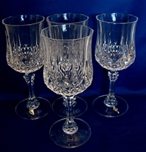 "Tall  (7.25 inches) Cristal D'arques ""Longchamp"" Wine Glasses-Set of 8 - $16.49"