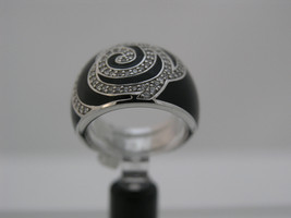 Ring Cacharel simple black with stones (CLR348NZ), Sterling Silver 0,925 - £70.65 GBP