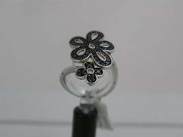Ring Cacharel with two black flowers (CSR260N), Sterling Silver 0,925 - £60.39 GBP