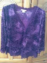 womens purple soft fabric design & sheer top size large by sensara - $29.99