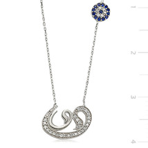 925 Sterling Silver Zircone Stone Vav Necklace - $55.17