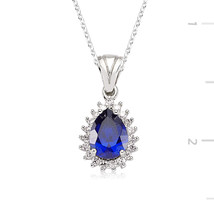 Zircone Safir Stone Rain Drop Necklace - $44.90