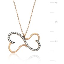 925 Sterling Silver Eternity TWOHeart Necklace - $67.92