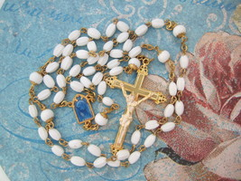 Vintage Catholic Rosary White Glass blue enamel center medal ornate Cruc... - $39.27