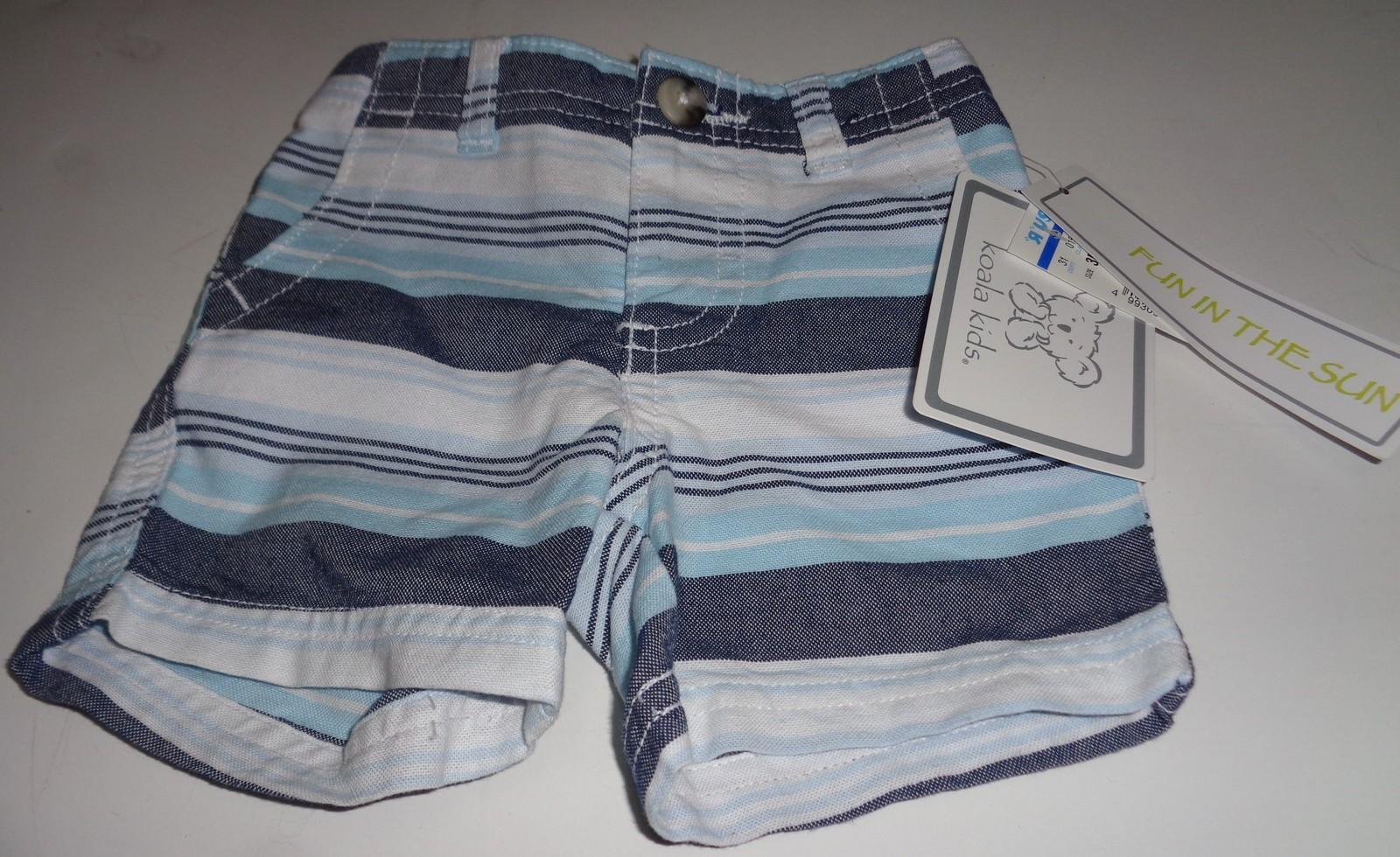 Koala Kids Fun in The Sun Infant Shorts NWT Sz 3 Months Blue Striped