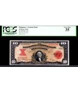 "PHILIPPINES P47 10 PESOS 1916 PCGS 35 ""FINEST KNOWN"" George Washington 1... - $2,450.00"