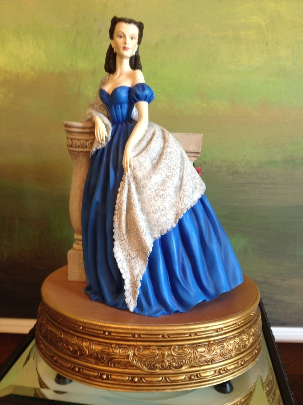 San Francisco Music Box Co - Scarlett Portrait in Blue Dress Gone With the Wind