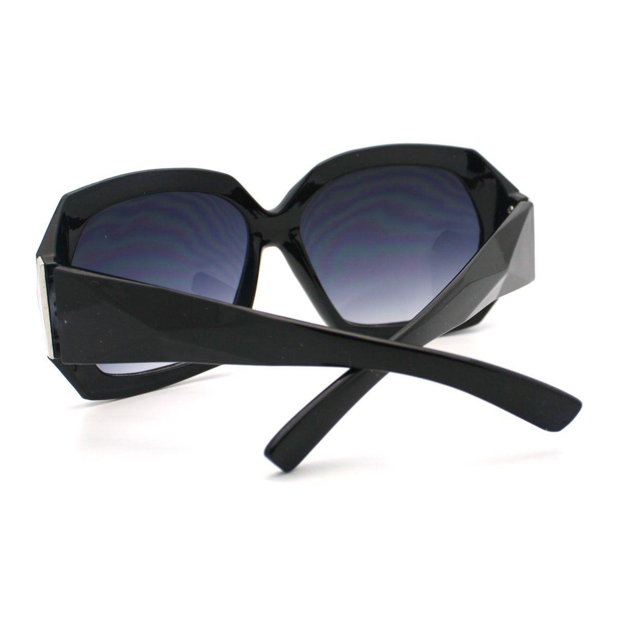 Diamond Cut Design Womens Sunglasses Oversize Square Fashion Frame BLACK
