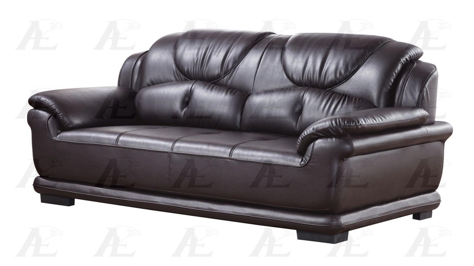 American Eagle Ae601 Dc Dark Chocolate Faux Leather Sofa Loveseat Chair Set 3pcs