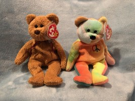 Beanie Babies 1996 PEACE + 1993 CURLY BEAR Both Retired w/ Tag Errors NW... - $318.78
