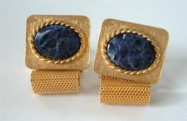 Vintage DANTE Gold Mesh Wrap Cufflinks Blue Stone Lapis Sodalite - $28.70