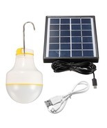 Outdoor Solar Powered 2W 2835 SMD LED Globe Light Bulb Camp Lamp 220V - £28.10 GBP