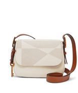 Fossil Vanilla Leather Zipper Closure Harper Small Crossbody/Shoulder Bag - $299.99