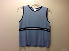 RAPHAEL Sleeveless Light Blue Top w Navy Stripe Design Sz XL